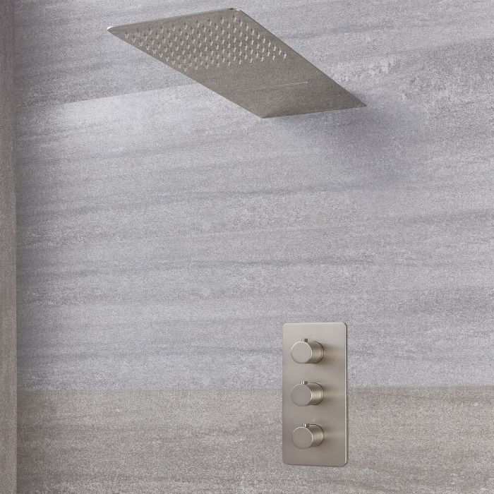 Milano Hunston - Modern Triple Thermostatic Valve and Waterblade Shower Head - Brushed Nickel