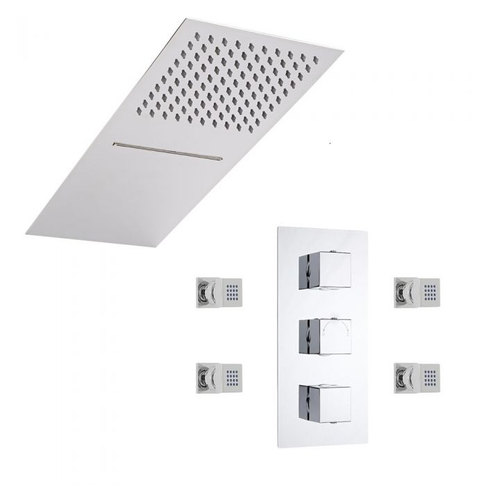 Milano Square Triple Diverter Thermostatic Valve, Two Outlet Shower Head and Body Jets