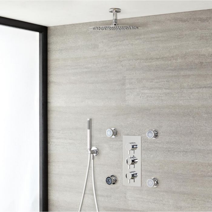 Milano Mirage - Modern Round Triple Diverter Thermostatic Valve with 300mm Round Shower Head, Ceiling Arm, Hand Shower and Body Jets - Chrome