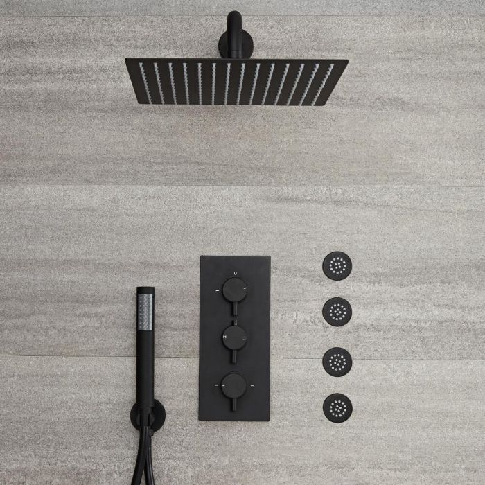 Milano Nero - Triple Thermostatic Diverter Shower Valve with 300 x 300mm Square Head, Hand Shower and Body Jets - Black