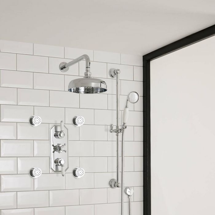 Milano Elizabeth - Traditional Triple Diverter Thermostatic Valve with 150mm Shower Head, Slide Rail, Wall Arm and Body Jets - Chrome and White