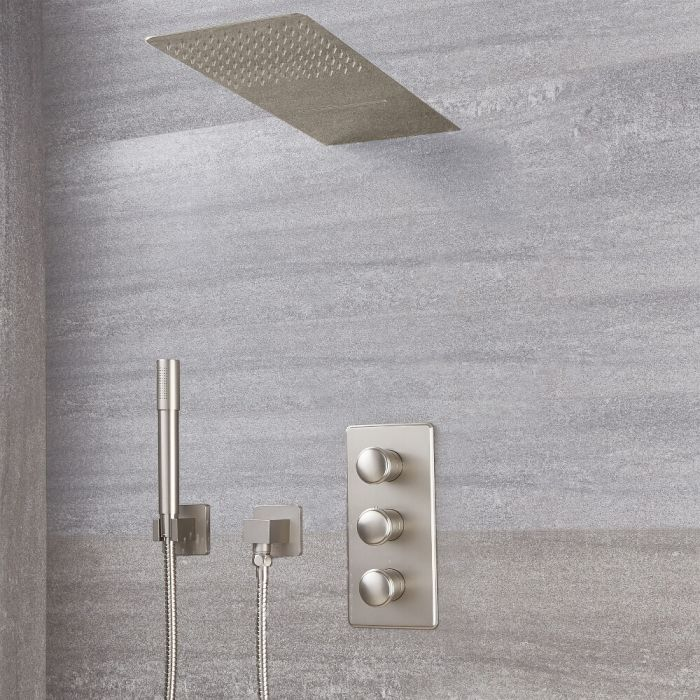 Milano Ashurst - Triple Diverter Thermostatic Valve, Waterblade Head and Round Handset - Brushed Nickel