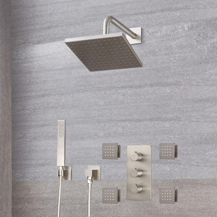 Milano Hunston - Modern Triple Diverter Thermostatic Valve, Square Head, Handset and Body Jets - Brushed Nickel