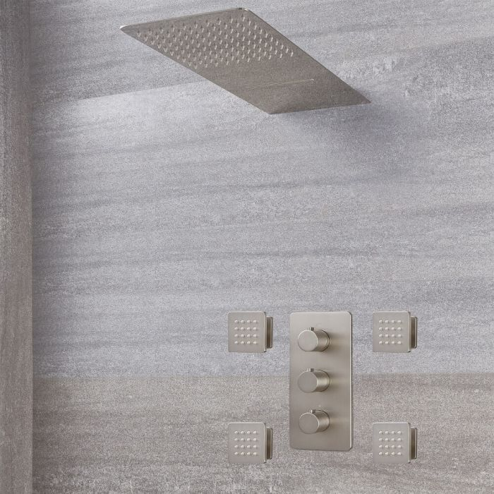 Milano Hunston - Triple Diverter Thermostatic Valve, Waterblade Head and Body Jets - Brushed Nickel