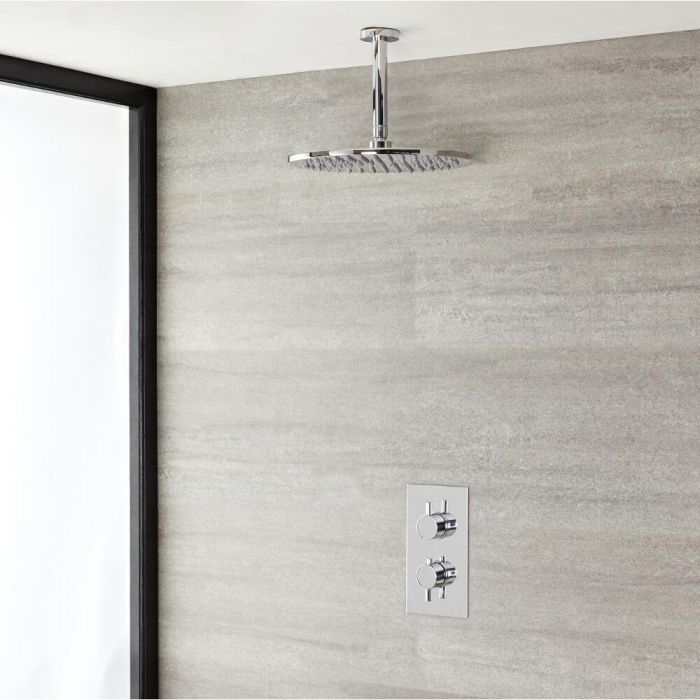 Milano Mirage - Modern Round Twin Thermostatic Shower Valve With 300mm Shower Head and Ceiling Arm
