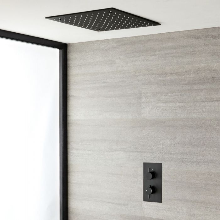 Milano Nero - Black Twin Concealed Valve with 400mm Square Recessed Head