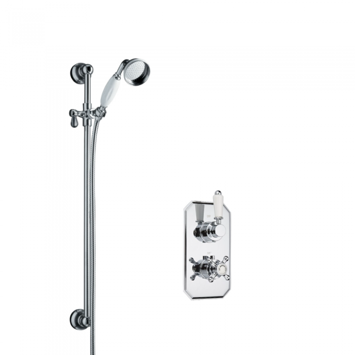 Milano Traditional Twin Thermostatic Shower Valve With Slide Rail Kit