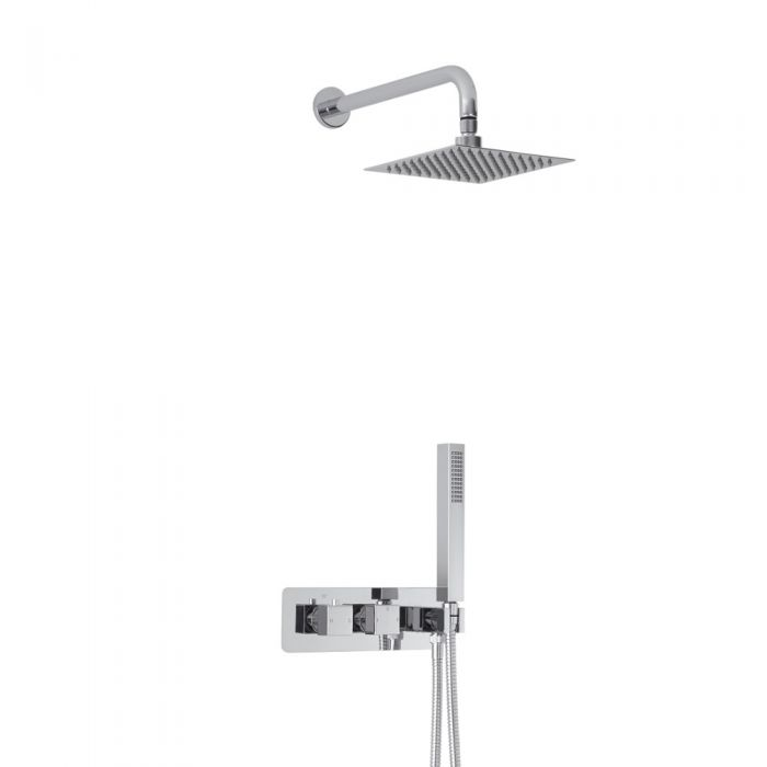 Milano Arvo Square Twin Diverter Thermostatic Shower Valve with Handset and 200mm Head