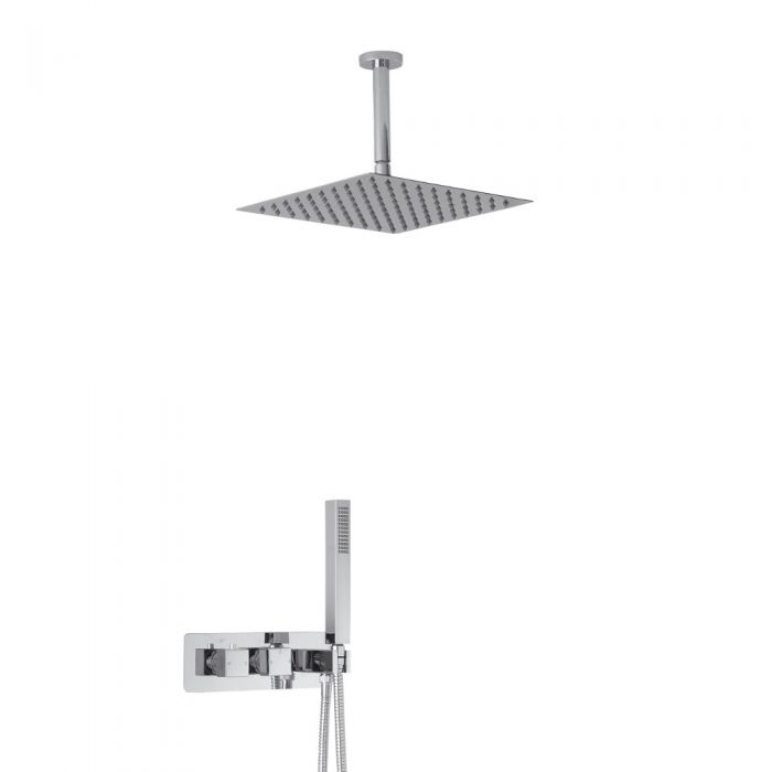 Milano Arvo Square Twin Diverter Thermostatic Shower Valve with Handset and 300mm Ceiling Head