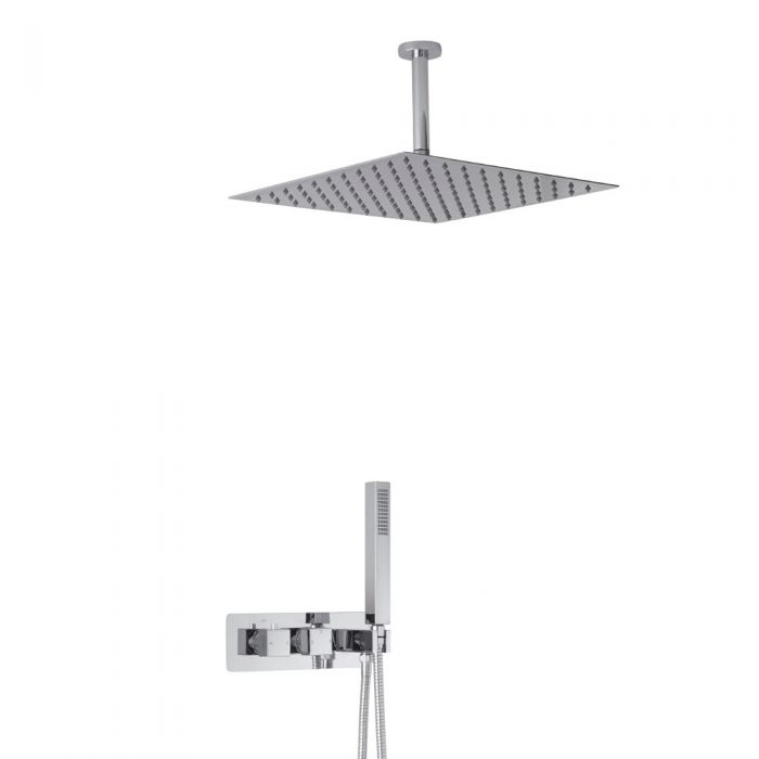 Milano Arvo Square Twin Diverter Thermostatic Shower Valve with Handset and 400mm Ceiling Head