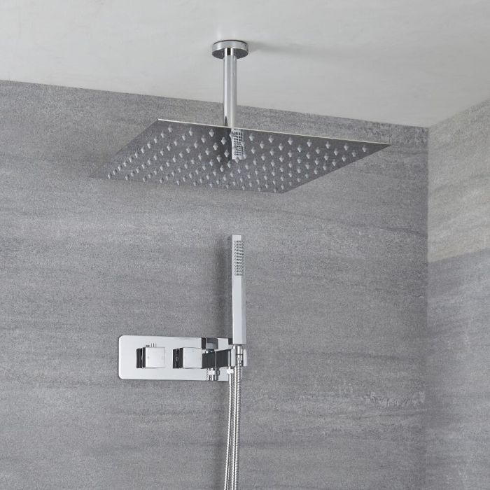 Milano Arvo - Modern Square Twin Diverter Thermostatic Shower Valve with Square Ceiling Mounted Shower Head and Hand Shower - Chrome