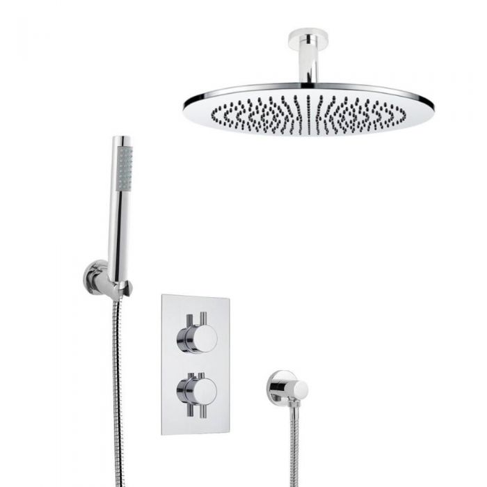 Milano Round Twin Diverter Thermostatic Valve, 300mm Shower Head, Ceiling Arm and Handset