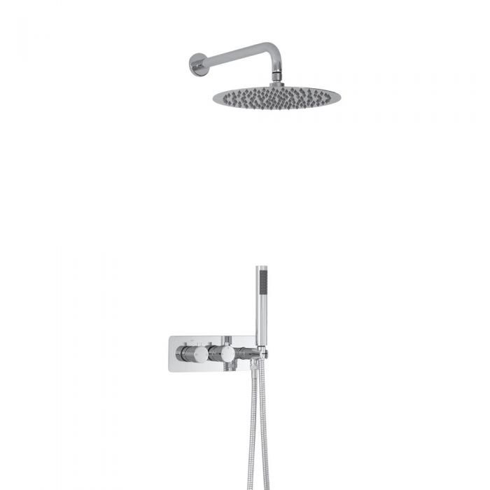 Milano Mirage Round Twin Diverter Thermostatic Shower Valve with Handset and 300mm Head