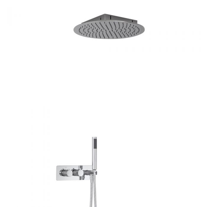 Milano Mirage Round Twin Diverter Thermostatic Shower Valve with Handset and 400mm Recessed Head