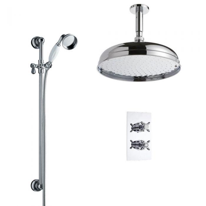 Milano Twin Diverter Thermostatic Valve With 300mm Head, Slide Rail Kit and Ceiling Arm