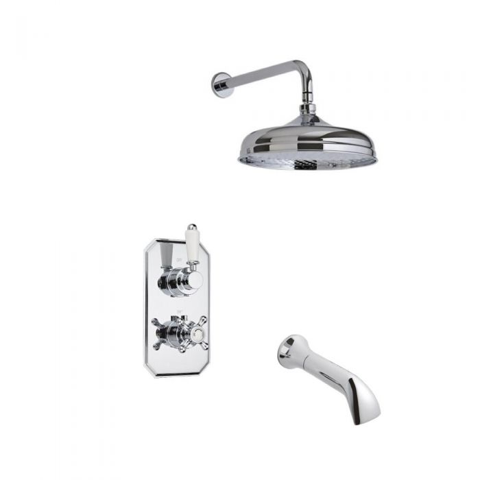 Milano Traditional Twin Diverter Thermostatic Valve with 150mm Head, Wall Arm and Spout