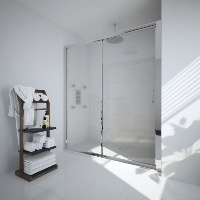 Milano Portland - 1700mm Sliding Shower Door - Chrome