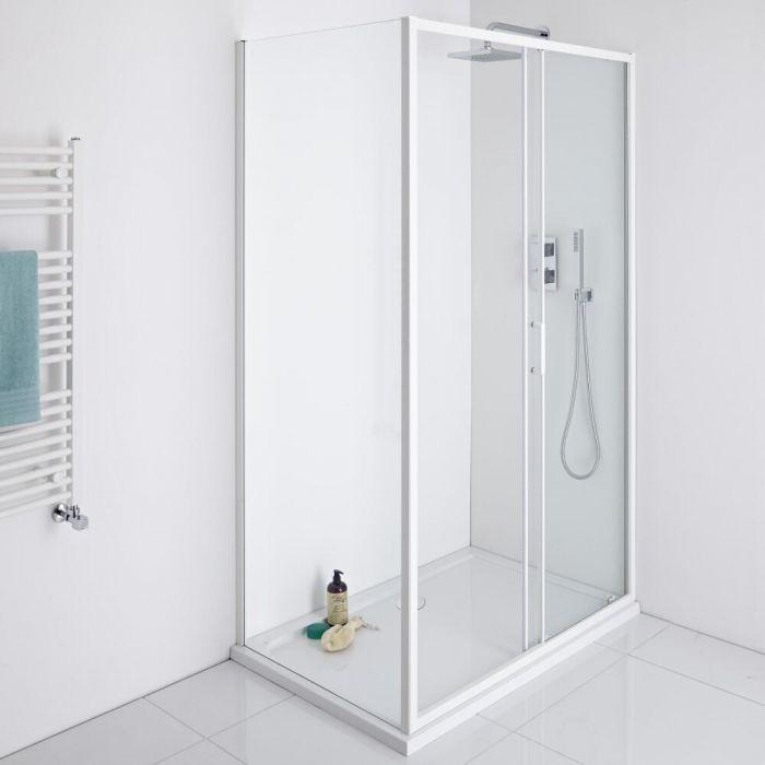 Milano Bianco 1100mm Shower Sliding Door, 900mm Side Panel & Tray