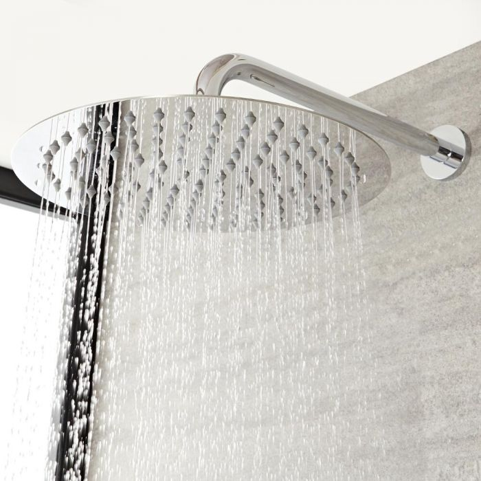 Milano - Round 300mm Fixed Shower Head and Wall Mounted Arm