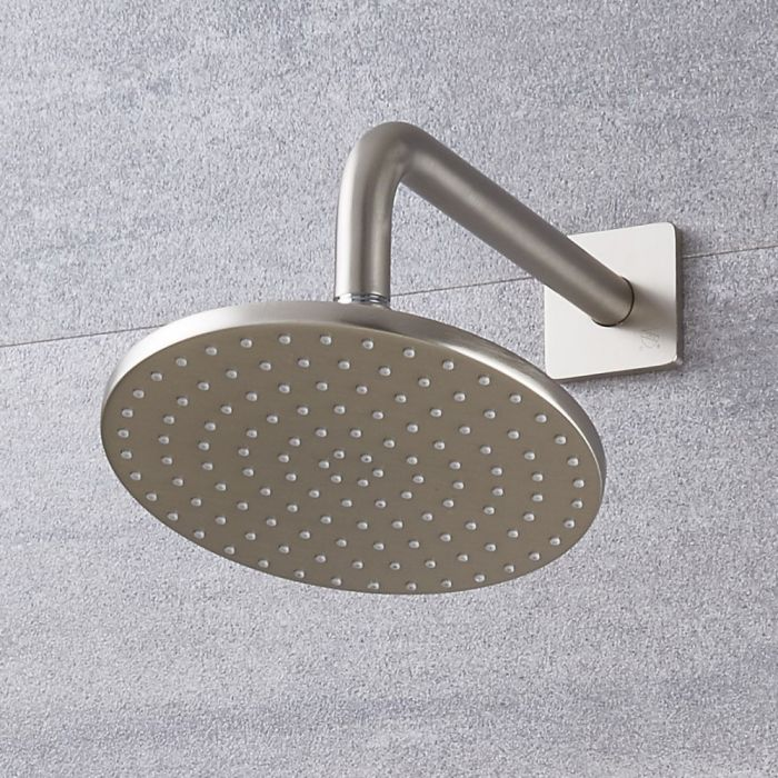 Milano 200mm Round Shower Head and Wall Arm - Brushed Nickel