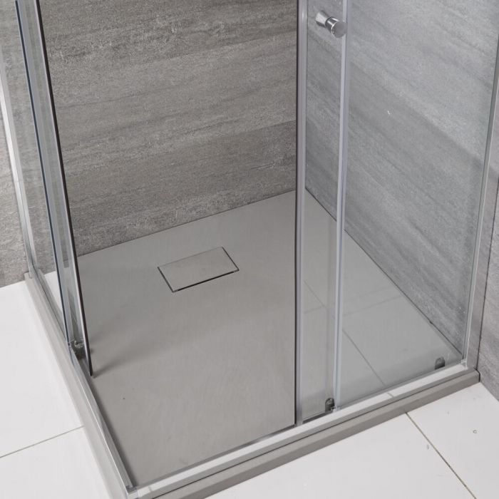 Milano - Light Grey Slate Effect Square Shower Tray - 800mm