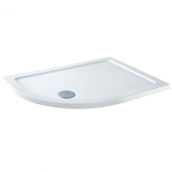 Milano - Left Handed Low Profile Offset Quadrant Shower Tray - 900mm x 760mm