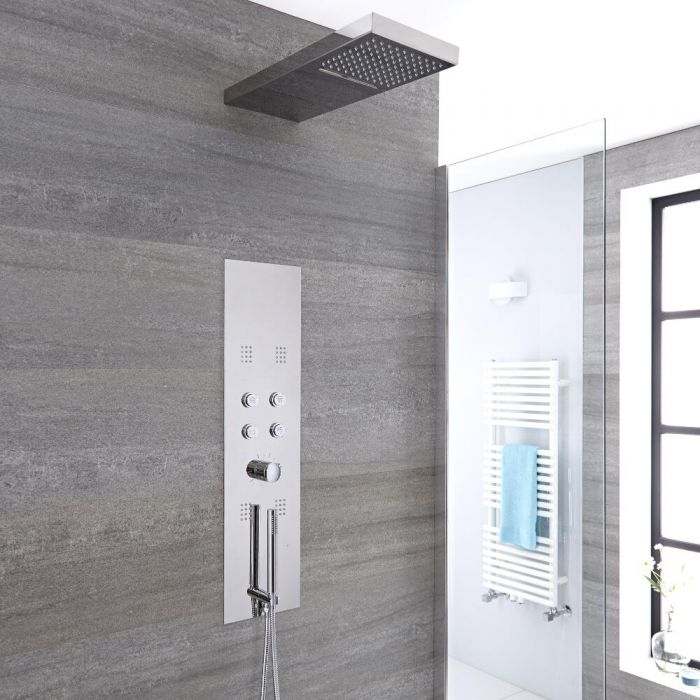 Milano Orta - Modern Concealed Thermostatic Shower Tower Panel with Waterfall and Blade Shower Head, Hand Shower and Body Jets - Chrome