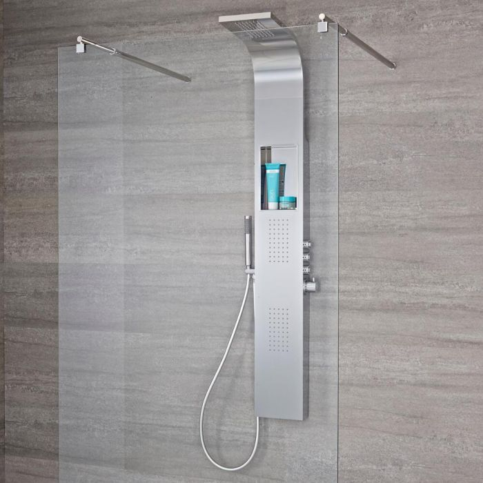 Milano Shower Tower with Integrated Storage - 3 Function Push Button Functionality