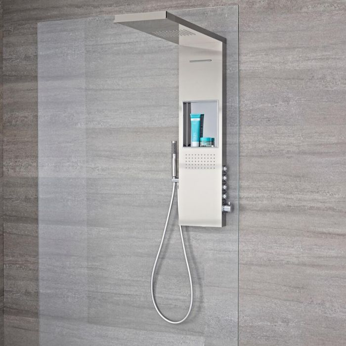 Milano Vaso - Modern 900mm Exposed Shower Tower Panel with Shelf, Glass Grabbing Shower Head, Hand Shower and Body Jets - Brushed Steel