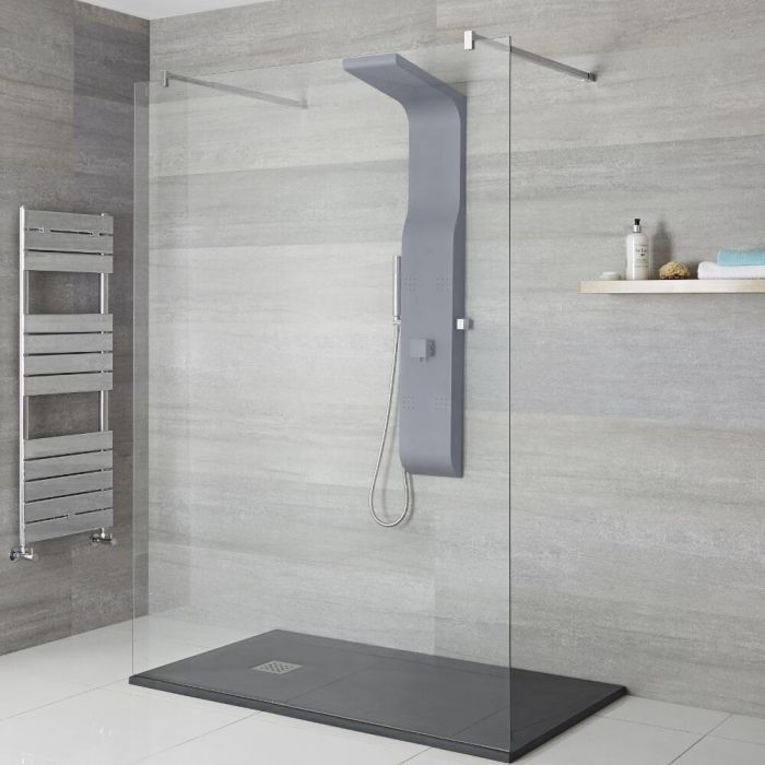 Milano Dalton - Modern Exposed Shower Tower Panel with Shelf, Large Shower Head, Hand Shower and Body Jets - Anthracite