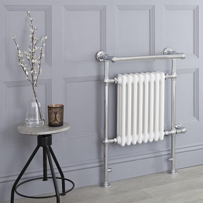 Milano Trent - White Traditional Electric Heated Towel Rail - 930mm x 620mm (With Overhanging Rail)
