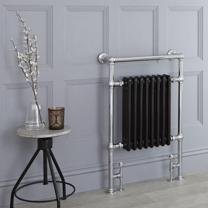 Milano Trent - Black Traditional Heated Towel Rail - 930mm x 620mm (Flat Top Rail)