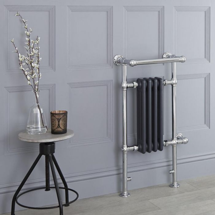 Milano Trent - Anthracite Traditional Electric Heated Towel Rail - 930mm x 450mm (With Overhanging Rail)