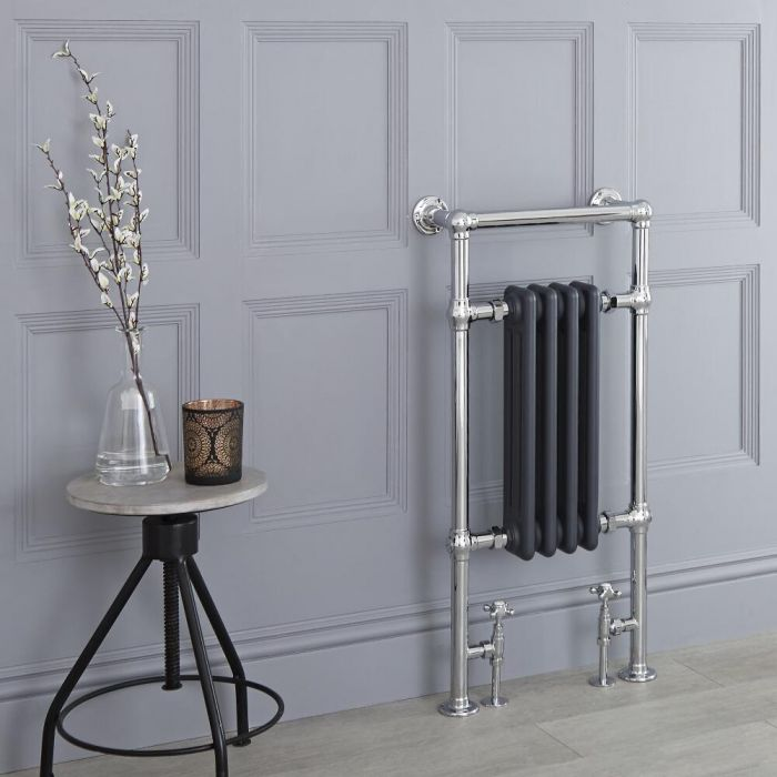 Milano Trent - Anthracite Traditional Heated Towel Rail - 930mm x 452mm (Flat Top Rail)