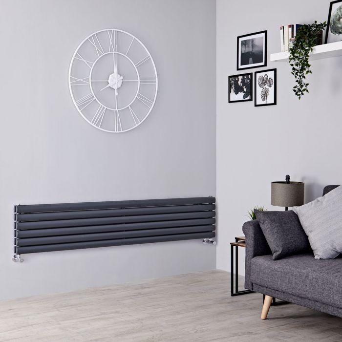Milano Aruba - Anthracite Horizontal Designer Radiator - 354mm x 1780mm (Double Panel)