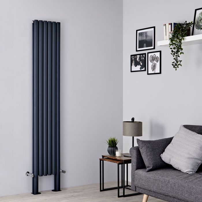 Milano Aruba Plus - Anthracite Vertical Designer Radiator - 2000mm x 354mm (Double Panel)