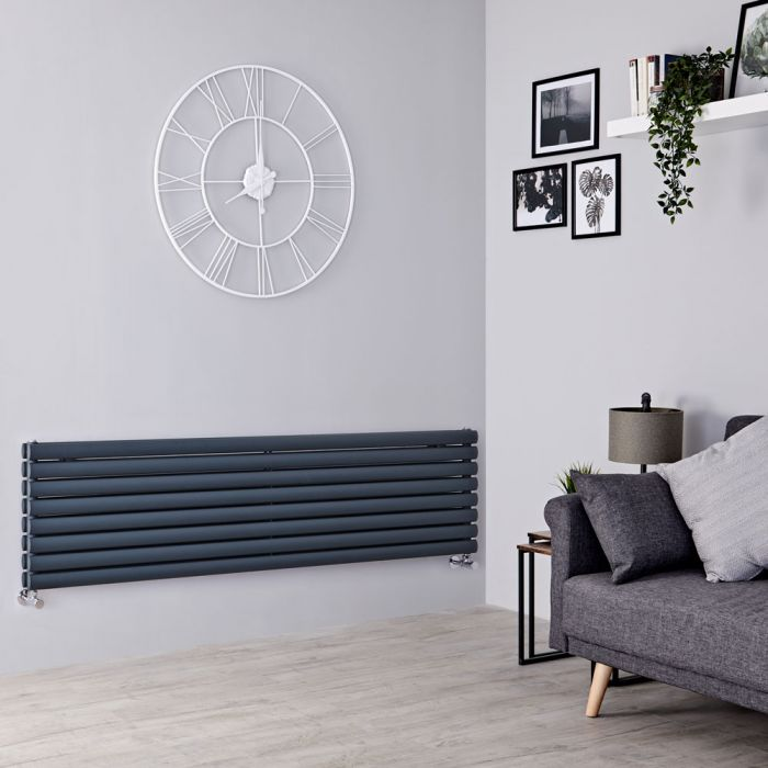 Milano Aruba - Anthracite Horizontal Designer Radiator - 472mm x 1780mm (Double Panel)