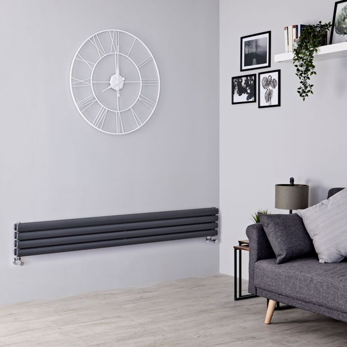 Milano Aruba Slim - Anthracite Space-Saving Horizontal Designer Radiator - 236mm x 1780mm (Double Panel)