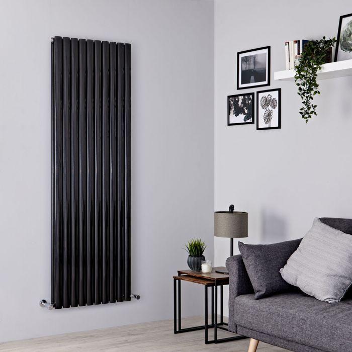 Milano Aruba - Black Vertical Designer Radiator - 1780mm x 590mm (Double Panel)