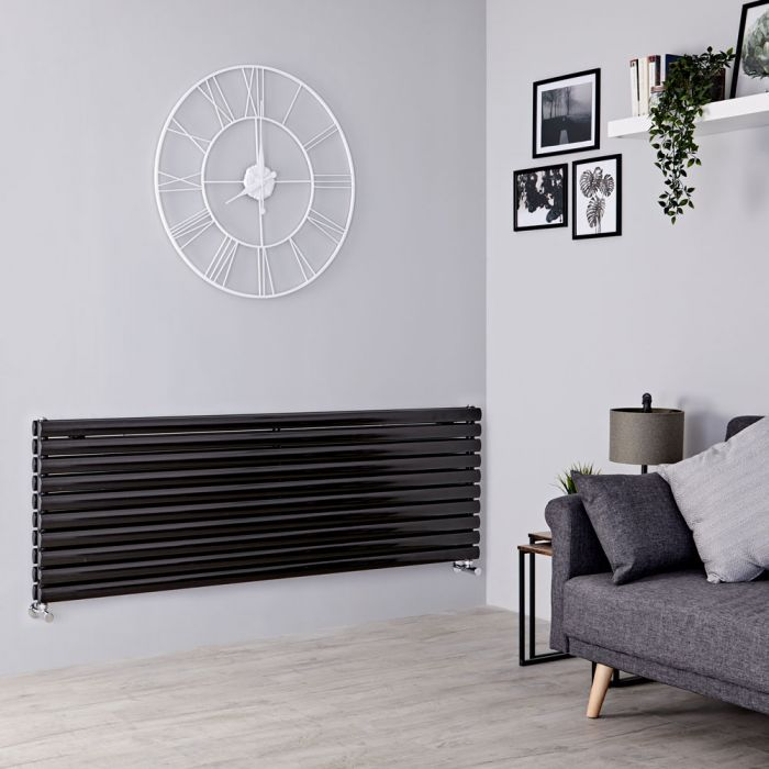 Milano Aruba - Black Horizontal Designer Radiator - 590mm x 1780mm (Double Panel)