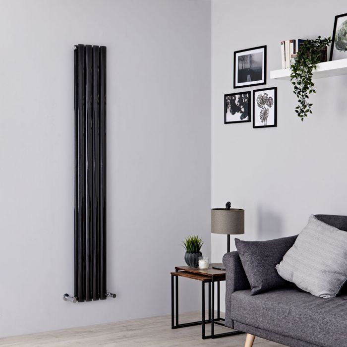 Milano Aruba Slim - Black Space-Saving Vertical Designer Radiator - 1780mm x 236mm (Double Panel)
