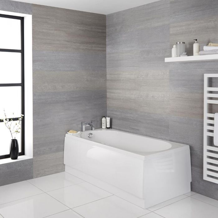 Milano Ballam - White Modern Round Single Ended Standard Bath - 1500mm x 700mm
