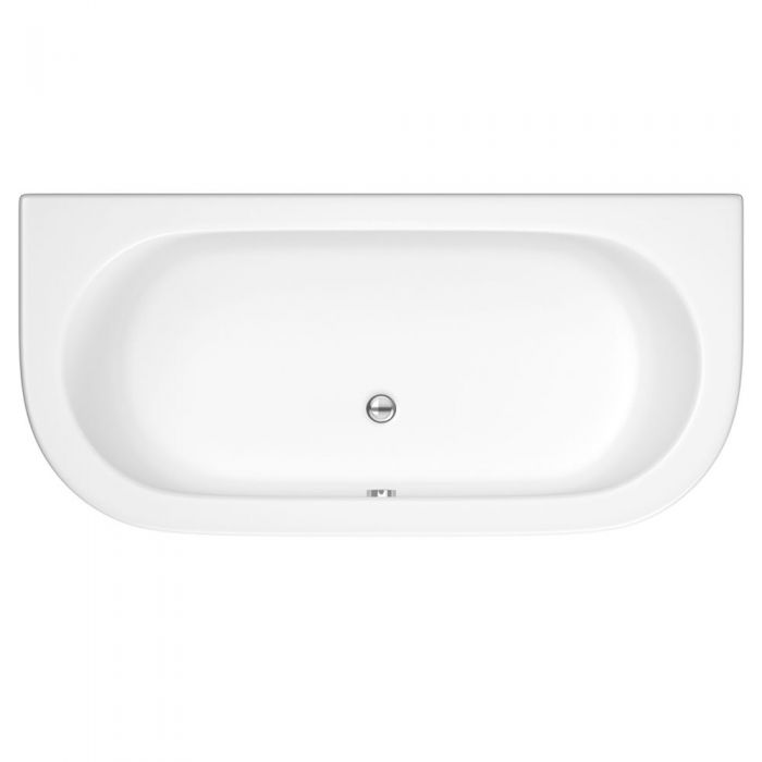 Milano - White Modern Curved D-Shape Bath and Panel - 1700mm x 800mm (No Tap-Holes)
