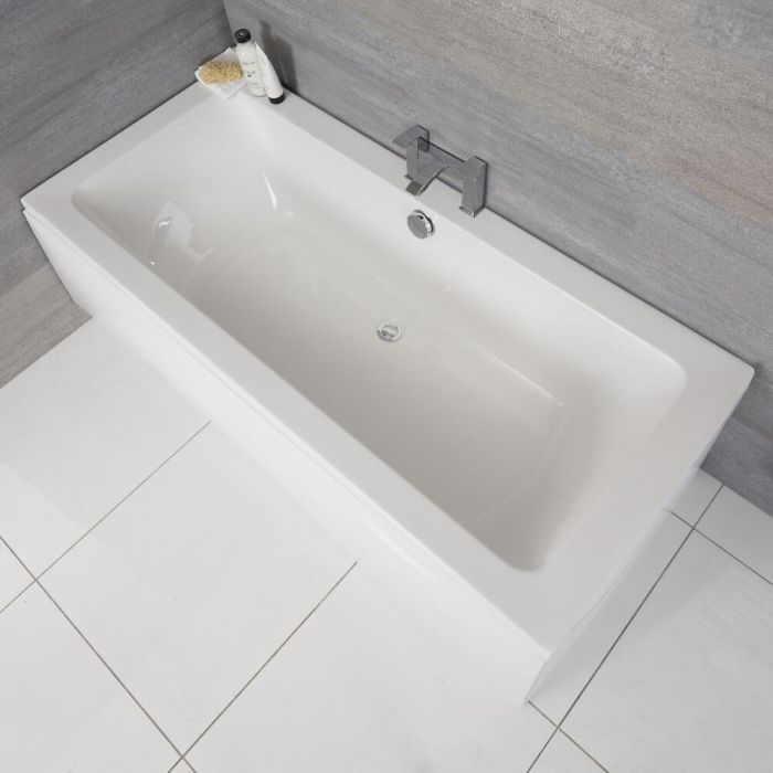 Milano Elswick - White Modern Double-Ended Standard Bath - 1700mm x 750mm