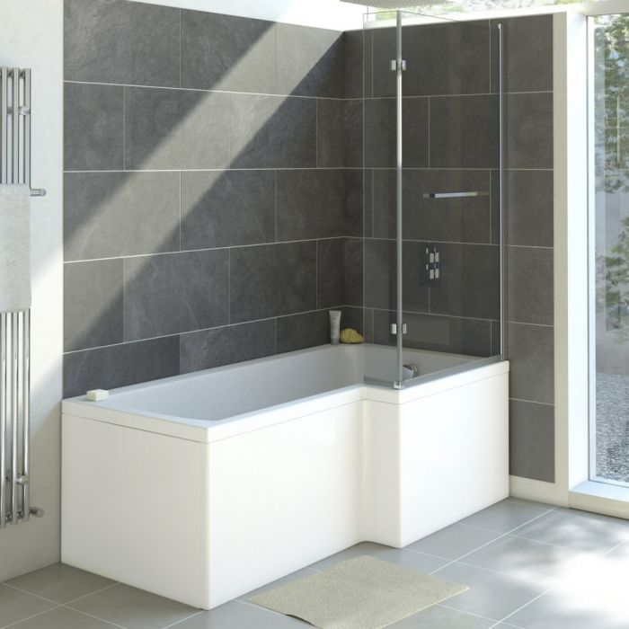 Milano - 1700 x 850mm Square Shower Bath with Panels - Right Hand