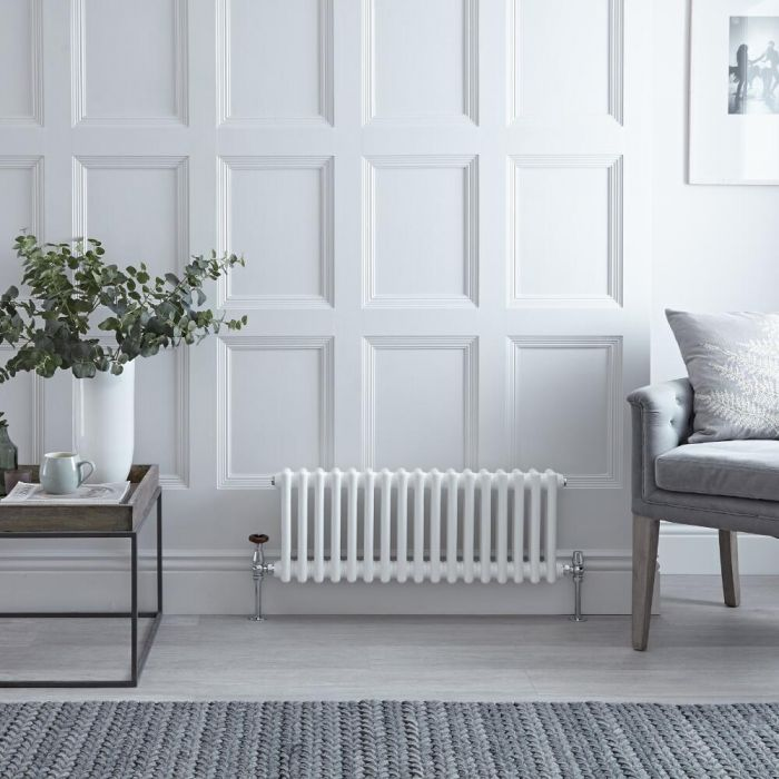 Milano Windsor - White Traditional Horizontal Column Radiator - 300mm x 609mm (Triple Column)