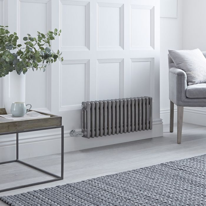 Milano Windsor - Traditional Horizontal 3 Column Electric Radiator - Raw Metal Lacquered - 300mm x 789mm