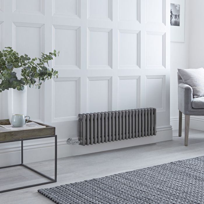 Milano Windsor - Traditional Horizontal 3 Column Electric Radiator - Raw Metal Lacquered - 300mm x 1013mm