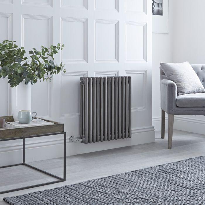 Milano Windsor - Traditional Horizontal 3 Column Electric Radiator - Raw Metal Lacquered 600mm x 608mm