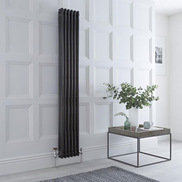 Milano Windsor - Black Traditional Vertical Column Radiator - 1800mm x 293mm (Triple Column)